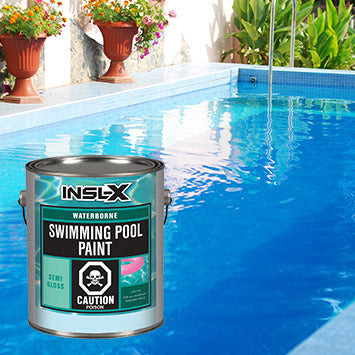 A swimming pool with two green plants in terracotta pots off to the side, with an overlay image of a gallon of Insl-X Swimming Pool Paint.