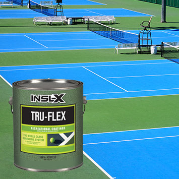 A blue and green tennis court, with an overlay image of a gallon of Insl-X True Flex coating.