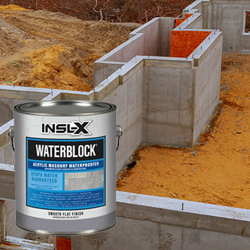 New foundation of a home being built, with an overlay image of a gallon of Insl-X WaterBlock coating.