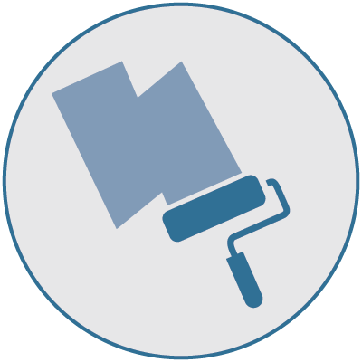 Icon of a paint roller and primer