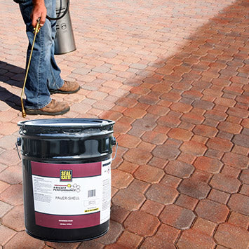 Patio floor that has been stained with Seal Krete's Paver Shell.