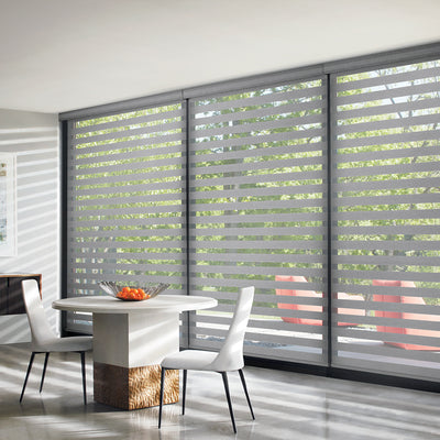 Three large windows with Hunter Douglas Designer Banded Window Treatments, available at Gleco Paint in PA.