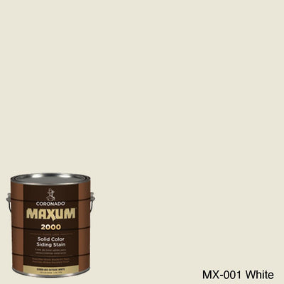 Coronado Maxum siding stain in the color MX-001 White available at Gleco Paint in PA.