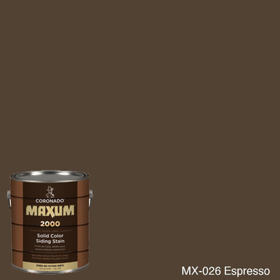 Coronado Maxum siding stain in the color MX-026 Espresso available at Gleco Paint in PA.