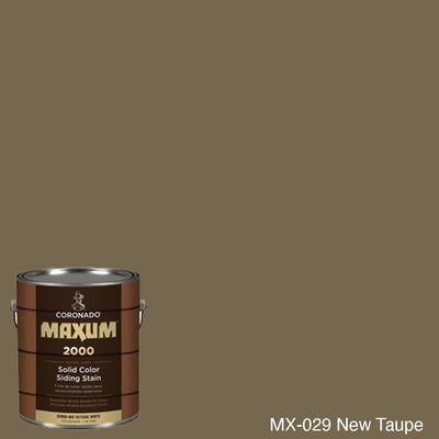 Coronado Maxum siding stain in the color MX-029 New Taupe available at Gleco Paint in PA.