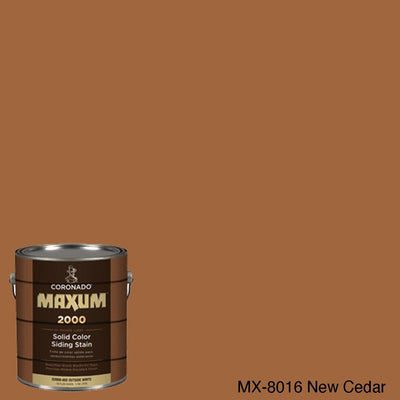 Coronado Maxum siding stain in the color MX-8016 New Cedar available at Gleco Paint in PA.
