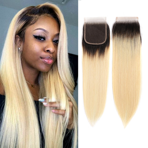 Straight 4*4 Lace Closure Ombre 1B/613 Hair