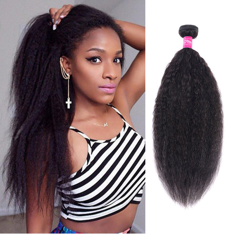 Brazilian Kinky Straight Hair Wave Bundles 1 PC Remy Hair
