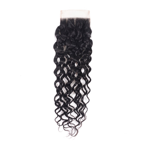 French Curl Wave 4x4 Lace Closure Brazilian Human Hair