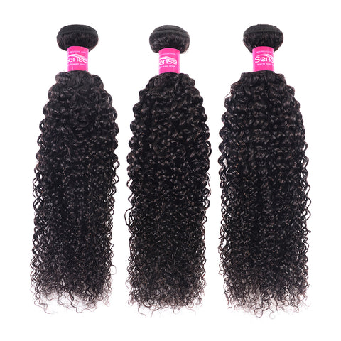 SENSE Brazilian Curly Hair Bundles 1 / 3 Pieces Human Hair Weave Bundle deals Can Buy Mixed Lengths Remy Hair Extensions