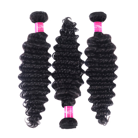 SENSE  Deep Wave Bundles Brazilian Hair Weave Bundles 1 PCS Human Hair 3 and 4 Bundles can be mixing 8-24 Remy Hair Extension Natural Color