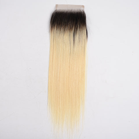 Brazilian Silky Straight 4*4 Lace Closure Ombre 1B/613 Dark Roots Blonde Human Hair