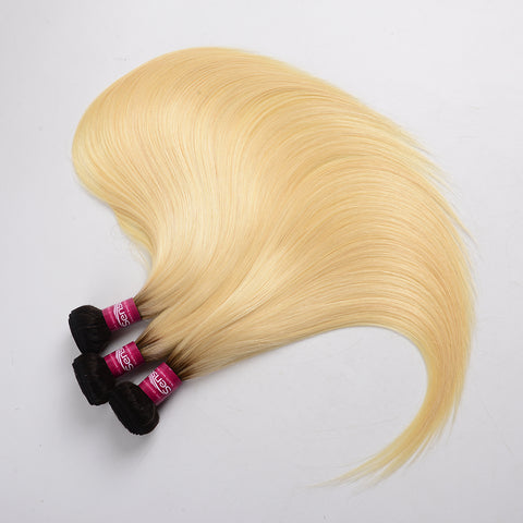 Ombre Blonde Brazilian Human Hair Bundles Straight T1b 613 Dark Roots Hair Weaving Extension