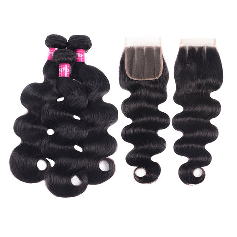 Body Hair Extension With Closure Can Free Shipping