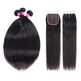 10A Straight Human Hair Bundles With Closure