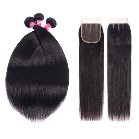 10A Straight Human Hair 3/2 Bundles With Closure Brazilian Straight Hair weave With Closure and Free Shipping