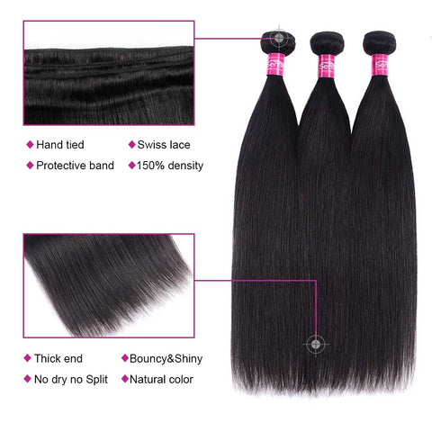 Natural Color 11A Straight Hair Bundles Brazilian Hair Weave Bundles 10-24 inches
