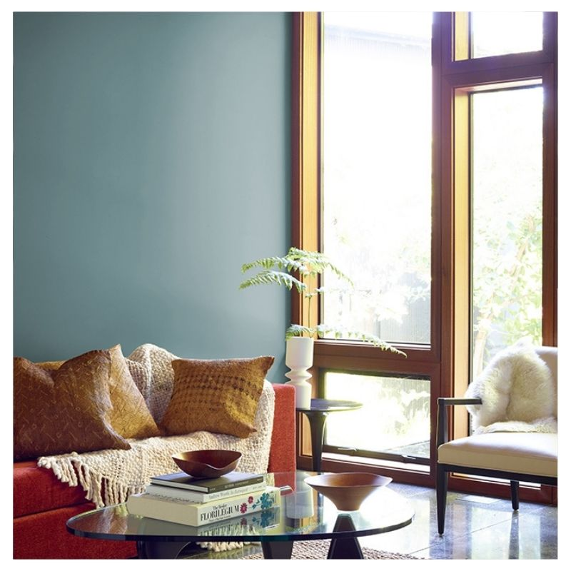 Benjamin Moore's Color of the Year 2136-40 Aegean Teal in a main living space