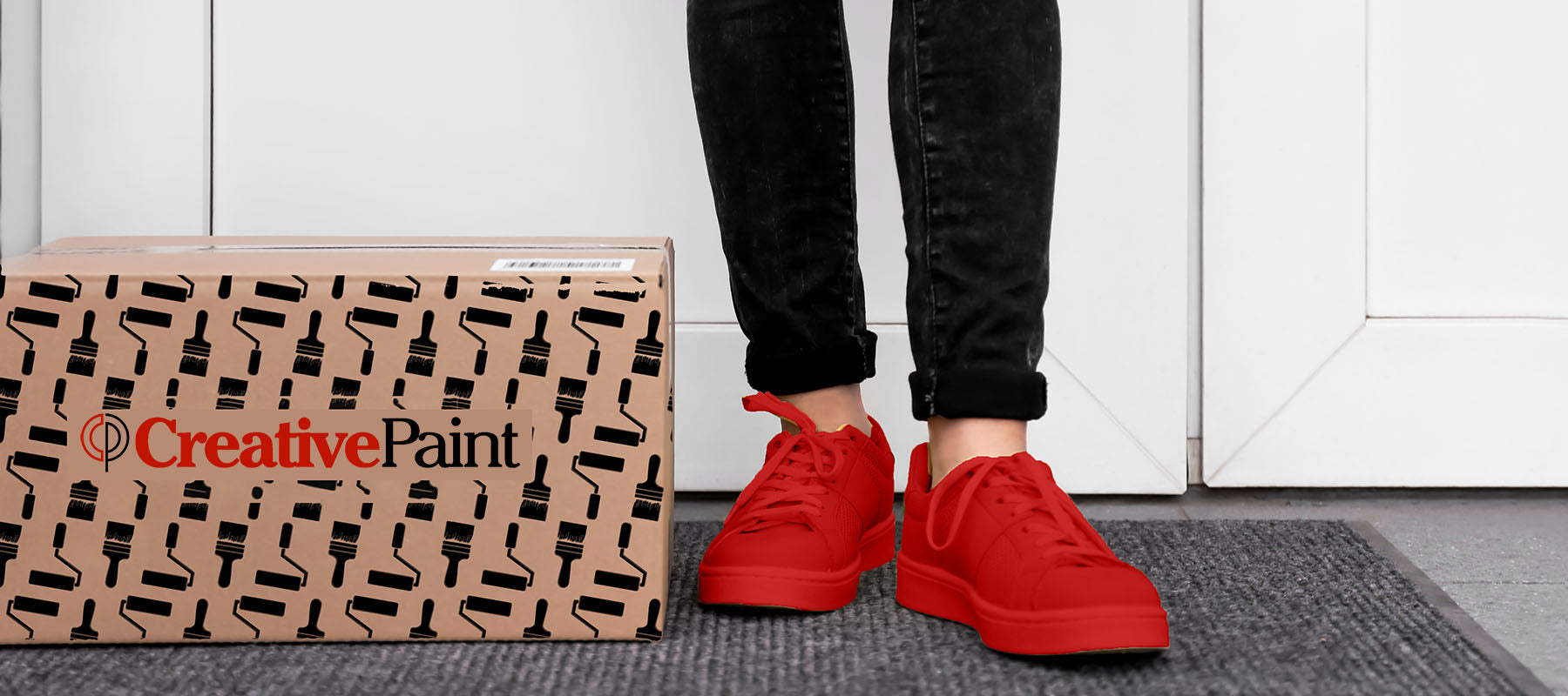 brown cardboard box with Creative Paint logo, sitting on front door step next to woman's red shoes. image showing a paint delivery to residential home in San Fransisco