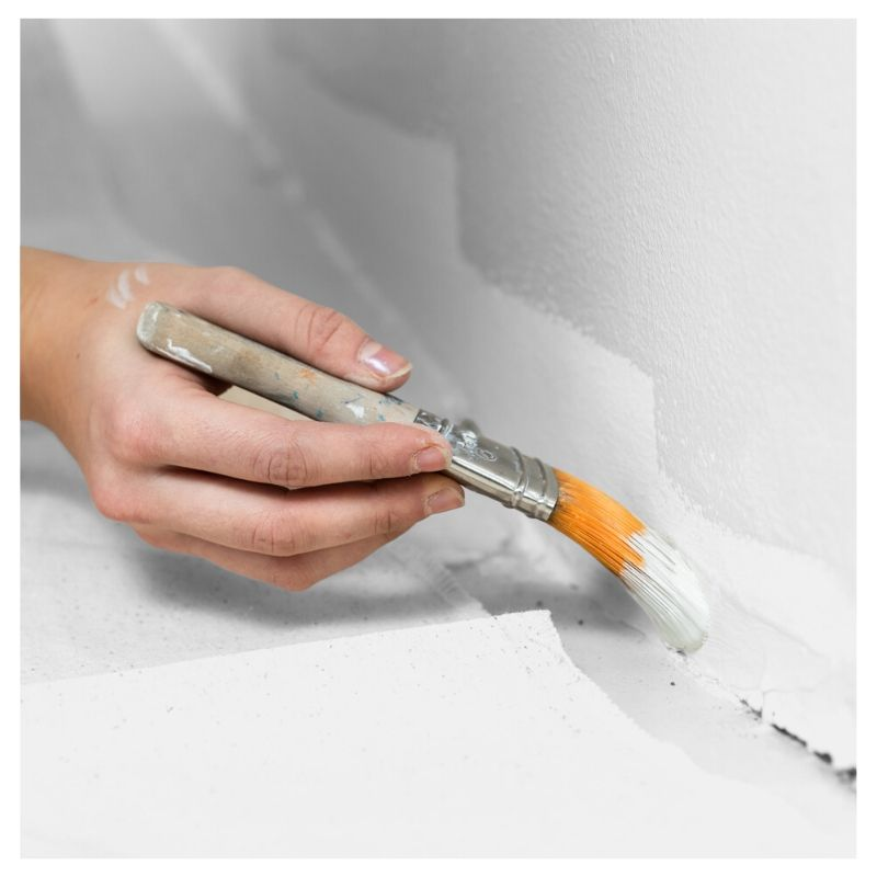 "woman hand holding a pain brush while doing the ""cutting in"" or edge of a wall. shop paint brushes in San Fransisco at Creative Paint"
