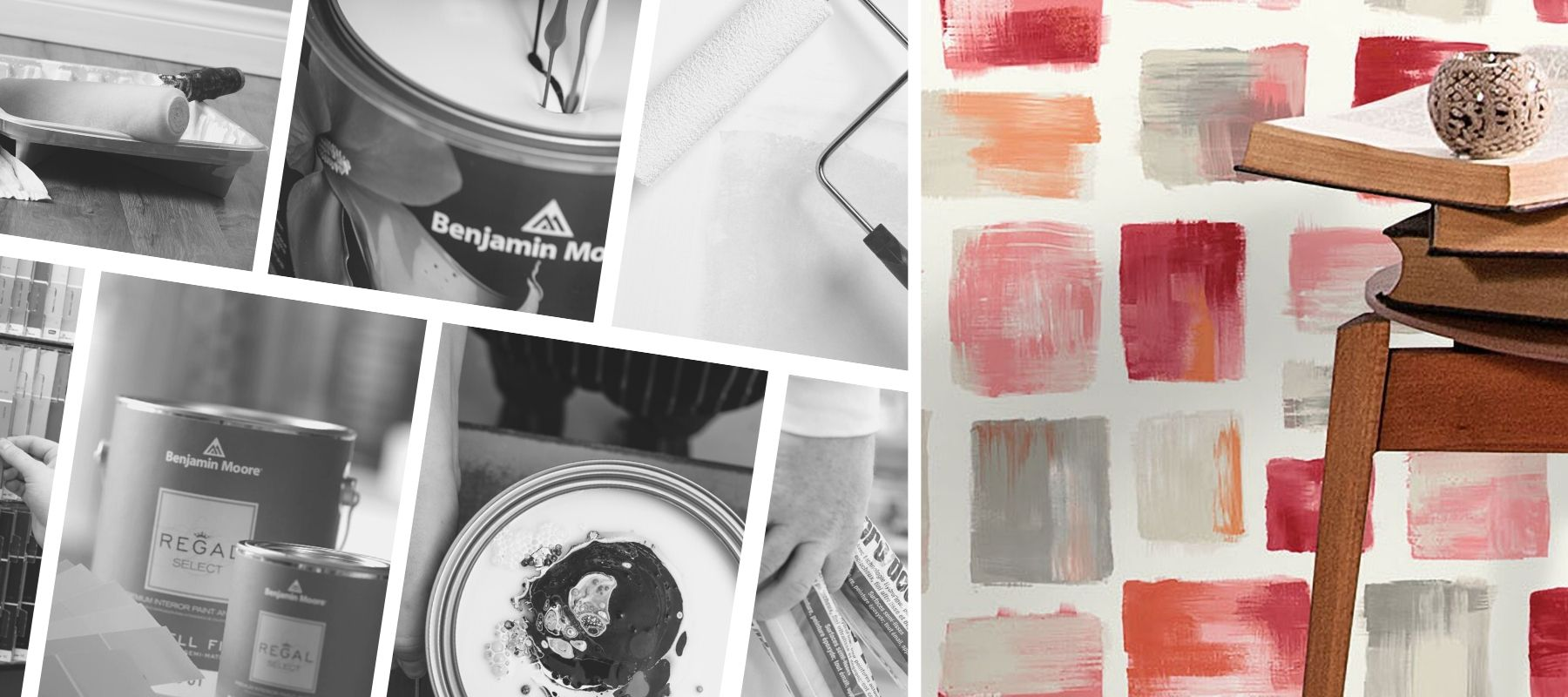 image of wallpaper overlayed ontop of collage of paint store items. wallpaper is red, pink, orange and gray, loooks like paint strokes of each color on the wall.