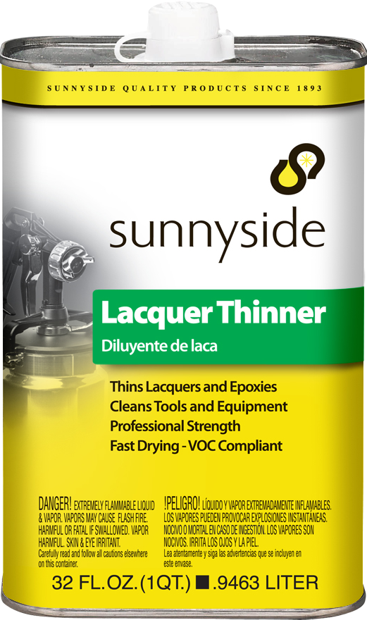 Sunnyside quart of lacquer thinner, available at Creative Paint in San Francisco, South Bay & East Bay.
