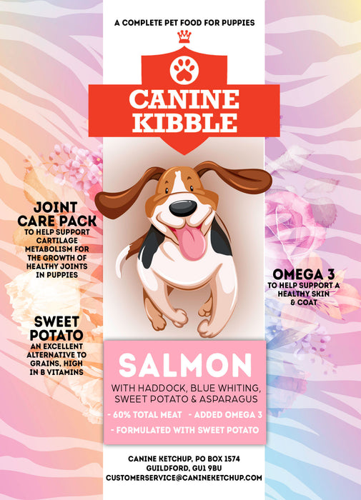 Canine Kibble for Puppies- Salmon with Haddock, Blue Whiting, Sweet Potato & Asparagus - 12kg