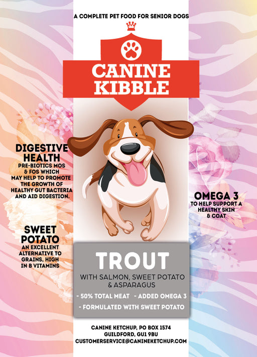 Canine Kibble Senior - Trout with Salmon, Sweet Potato and Asparagus - 12kg