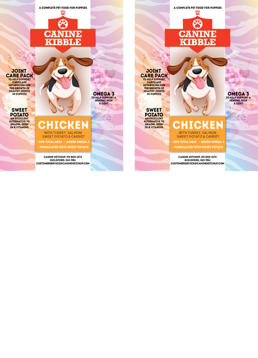 Canine Kibble for Puppies - Chicken with Turkey, Salmon, Sweet Potato and Carrot - 12kg