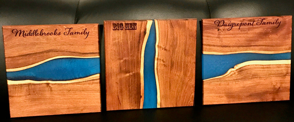 Custom Engraved Blue Water Resin Cutting Boards