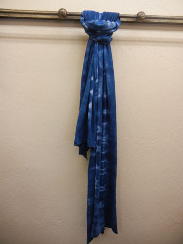 Hand Tie Dyed Cotton Scarf: Navy
