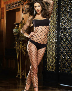 Fence Net Bodystocking With Built In Opaque Bra And Panty by Dreamgirl Lingerie- Studio Europe