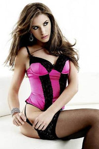 Satin Bustier Top with Garter Belt & Thong by Sensual Mystique Lingerie- Studio Europe
