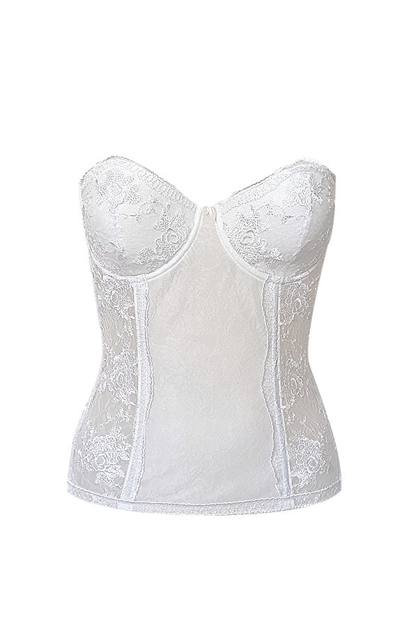 Mughetto Lace & Satin Bridal Bustier - Studio Europe