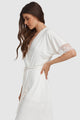Lace Trim Short Sleeve Robe