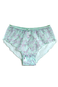 Aqua & Purple Embroidery Sheer Boyleg Brief - Studio Europe
