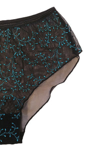 Blue Embroidery Sheer Boyleg Brief