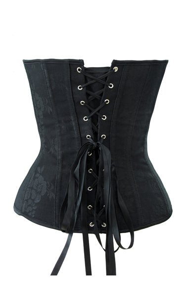 Black on Black Floral Overbust Corset - Studio Europe