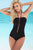 Lattice Halterneck Swimsuit -Black One Piece swimwear - Studio Europe