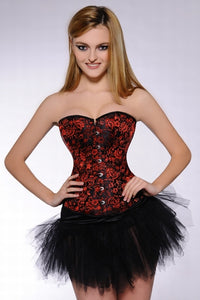 Red Jacquard Overbust Corset by Studio Europe Intimates- Studio Europe