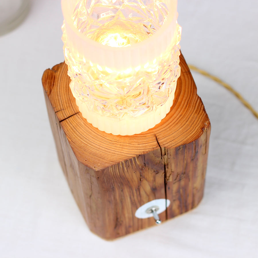 Unique table lamp from salvaged old barn beam solid wood