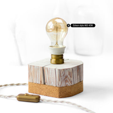 Unique desk lamp from salvaged old barn beam solid wood, with vintage porcelain-brass socket and cork bottom