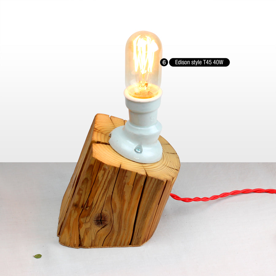 Unique sloped table lamp from salvaged old barn beam solid wood