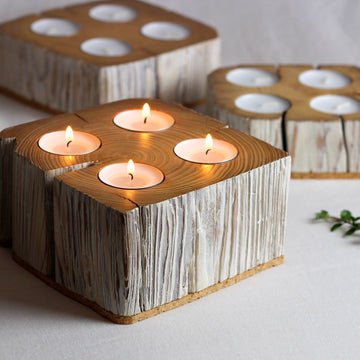 Salvaged barn beam solid wood 4 tealight candle holder