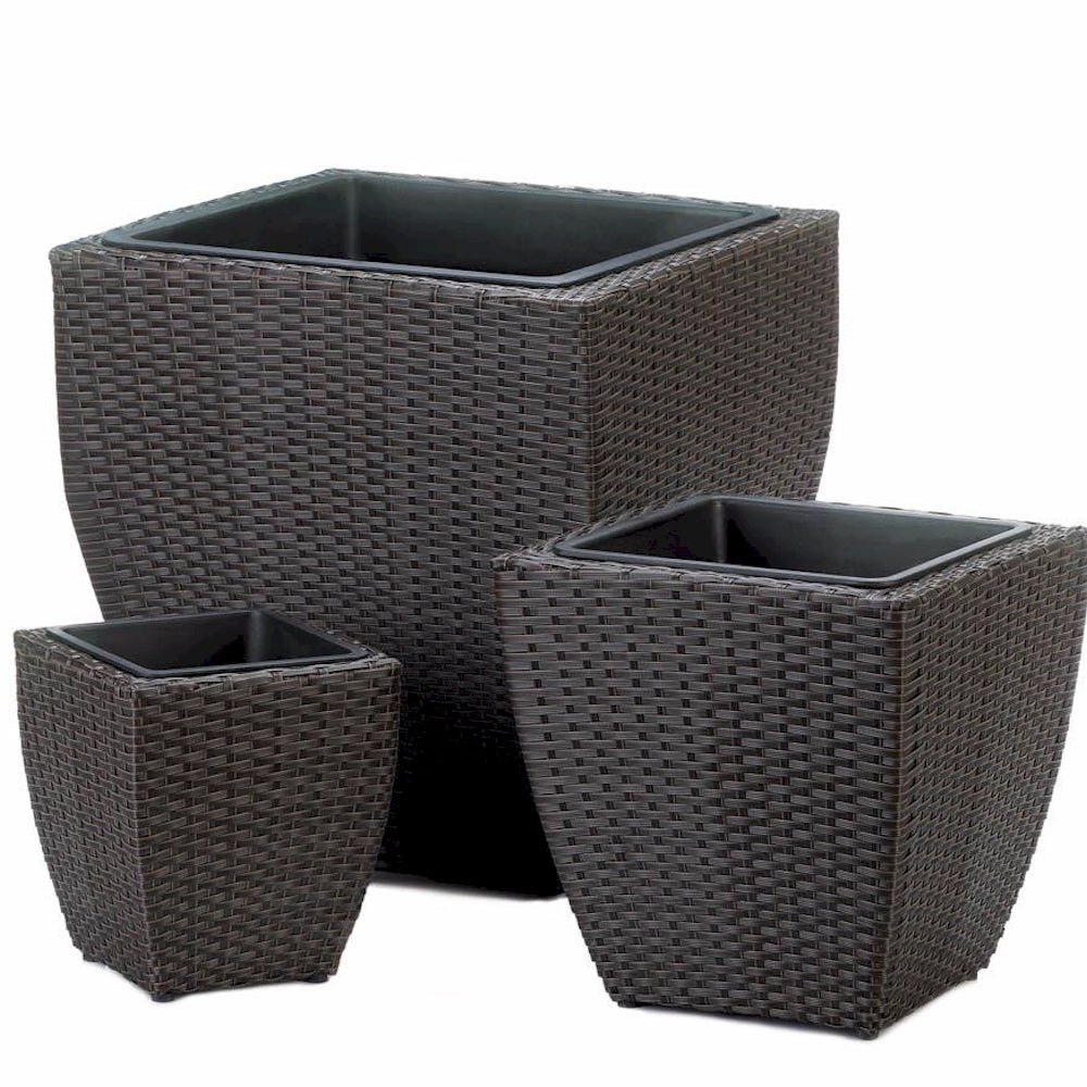 Tuscany Wicker Square Planter Set
