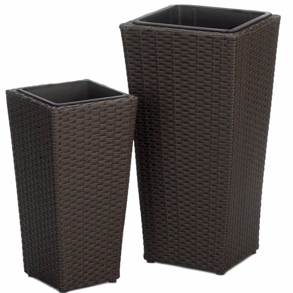 Tuscany Tall Wicker Planter Set