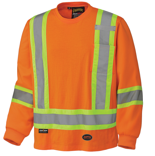 PIONEER Safety Cotton Hi Viz Long Sleeve Shirt