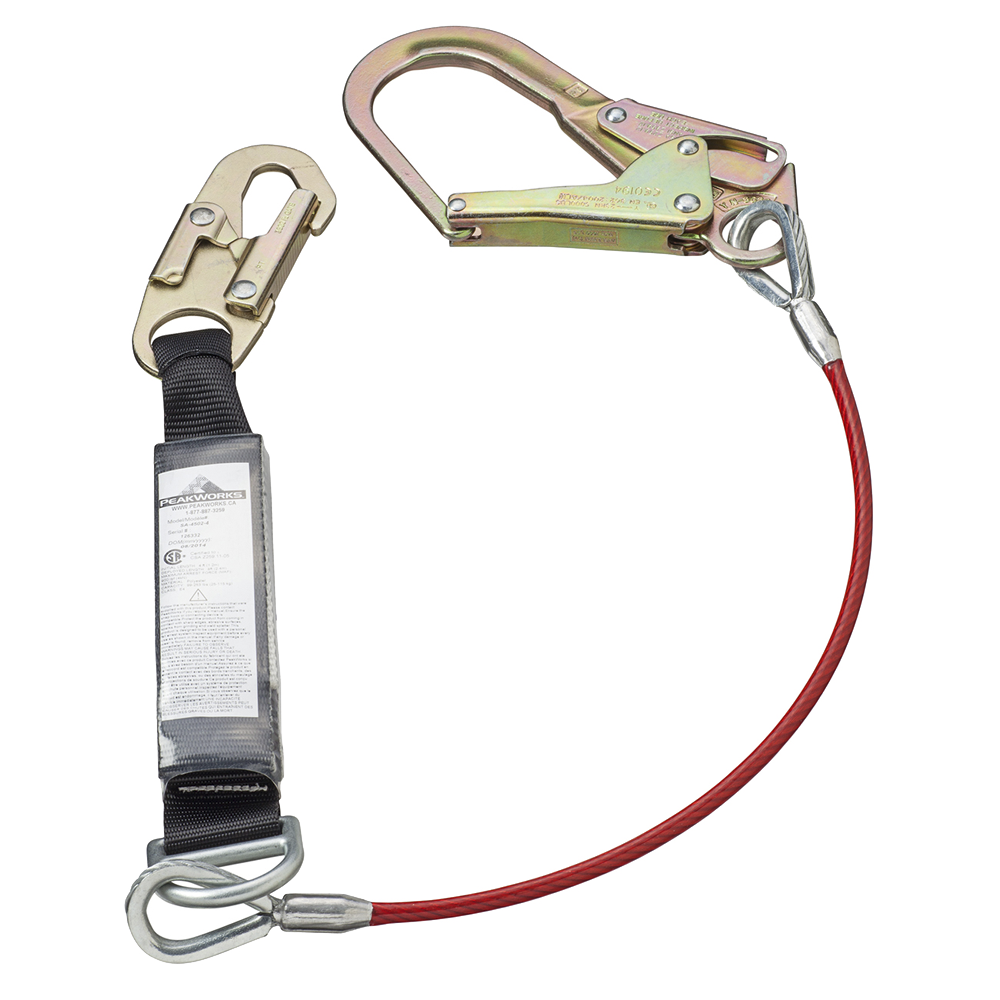 PEAKWORKS E4 Shock Absorb Lanyard - SP - Single Leg- Galv Cable - Snap & Form Hooks - 6' (1.8 M)