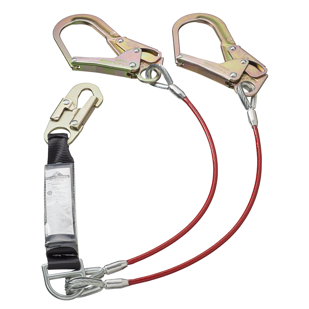PEAKWORKS E4 Shock Absorbing Lanyard - SP - Twin Leg - Galv. Cable - Snap & Form Hooks - 6' (1.8 M)