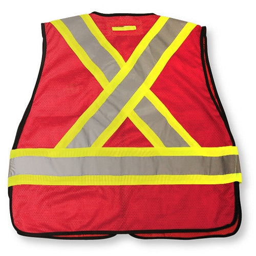 BIG K Mesh Tear Away Hi Viz Safety Vest (RED)